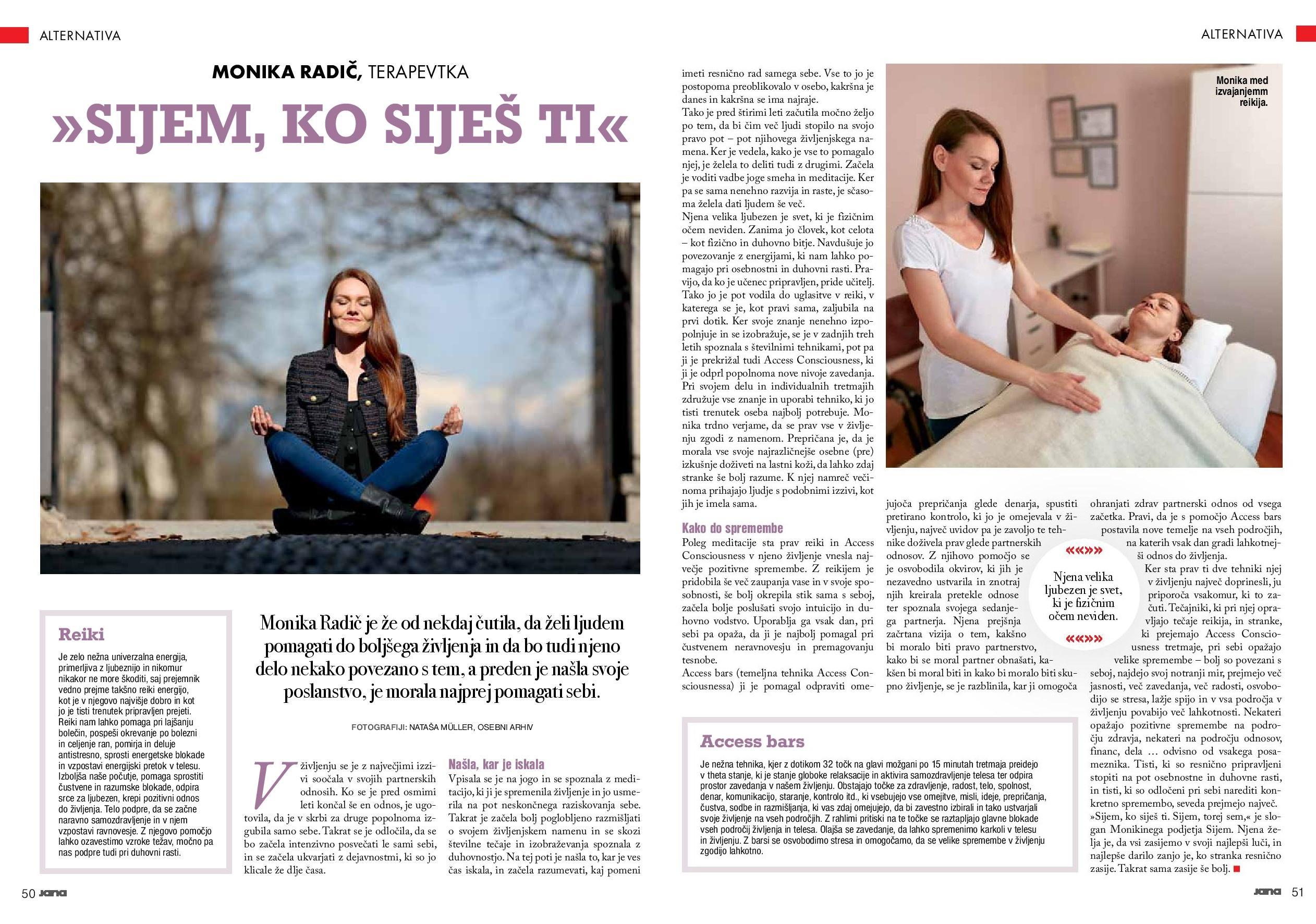 monika radič revija jana - Sijem, ko siješ ti. (Članek v reviji Jana)